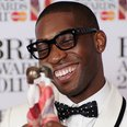 Tinie Tempah at the 2011 BRIT Awards, collecting the award for Best British Single for 'Pass Out'