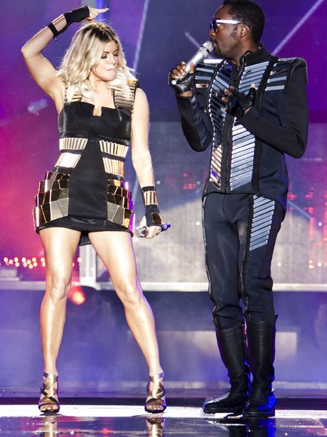 Black Eyed Peas perform on stage at Alton Towers in 2011
