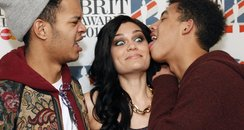 Jessie J and Rizzle Kicks backstage at the 2012 BR