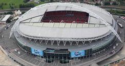 Aerial view of Wembley Stadium  at the Summertime