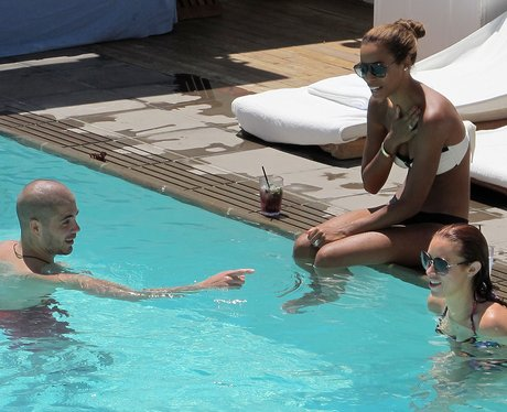 Max George with The Saturdays at their LA hotel.