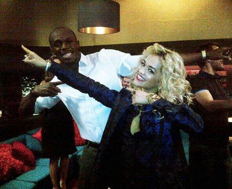 Rita Ora meets Olympic medalist Usain Bolt.