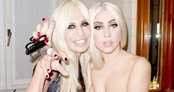 Lady Gaga topless with Donatella Versace