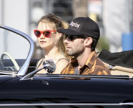 Adam Levine and Behati Prinsloo in his car