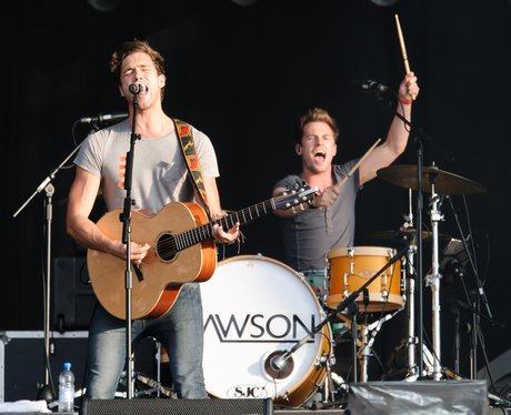 Andy Brown and Adam Pitts of Britis Lawson perform live on stage