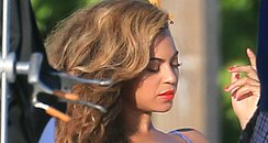 Beyonce poses for a photoshoot in the Bahamas