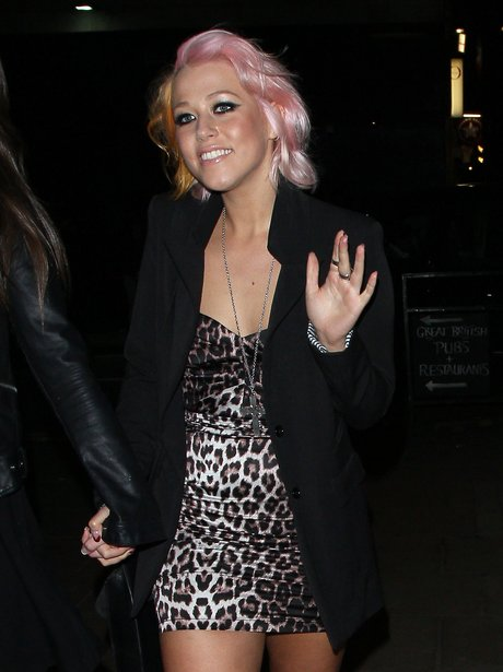 Amelia Lily wearing a leapors print dress