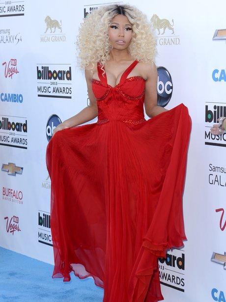 Nicki Minaj wearing a red dress at the Billboard Music Awards 2013