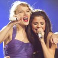 Taylor Swift and Selena Gomez on stage