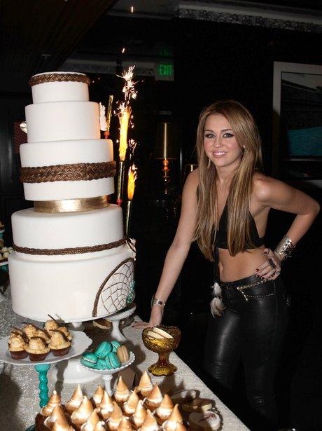 майли сайрус устроила фотосессию с тортом