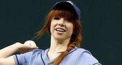Carly Rae Jepsen playing baseball
