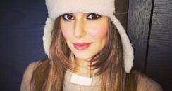 Cheryl Cole wearing a winter hat