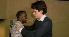 kanye west and john mayer hug
