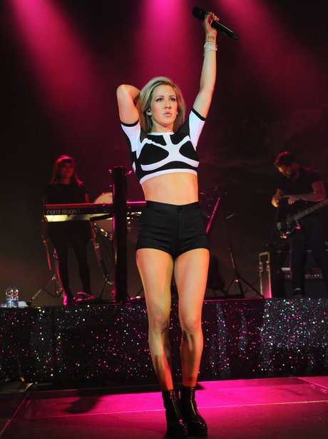 Ellie Goulding performs in shorts