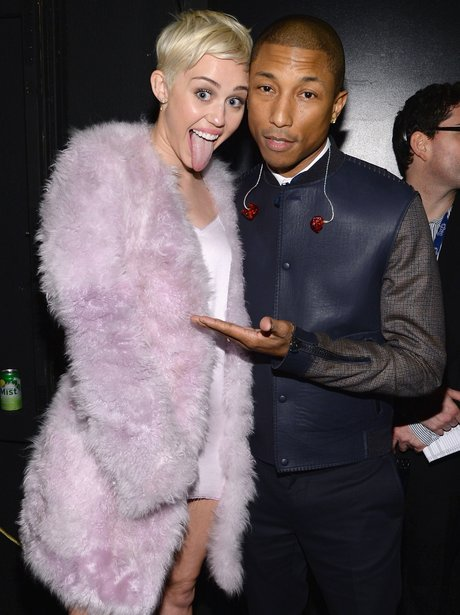 Miley Cyrus and Pharrell at the Grammy Awards 2015 Gala