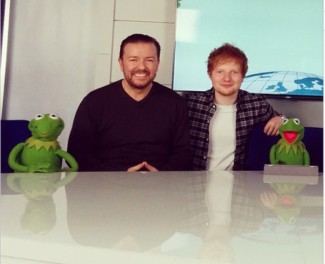 Ed Sheeran and Ricky Gervais