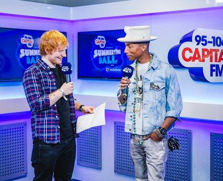 Ed Sheeran and Pharrell Williams backstage