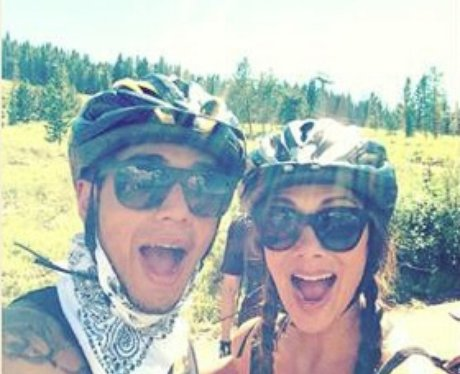 Nicole Scherzinger and Lewis Hamilton on bike ride