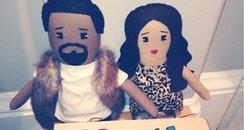 Kim Kardashian and Kanye West dolls
