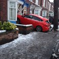 Car crash in house due to snow