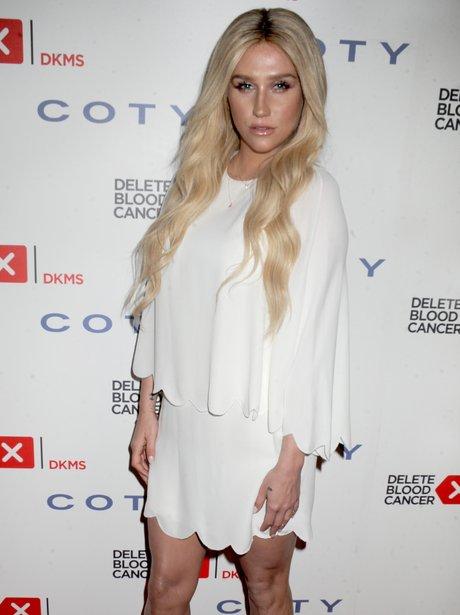 Kesha wearing a White Dress