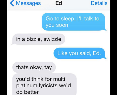 Taylor Swift Ed Sheeran Text Message