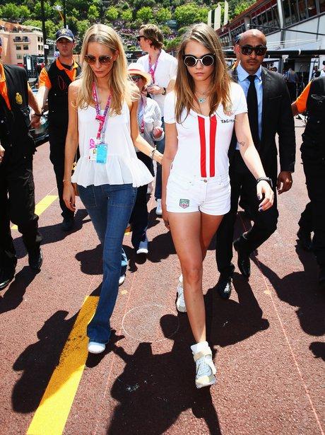 Cara Delevingne and Poppy Delevingne Grand Prix