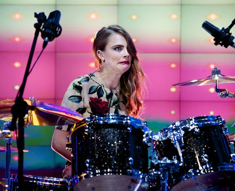 Cara Delevingne on the Drums