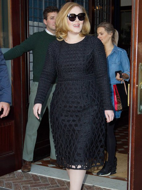 Adele wearing a lace dress in New York