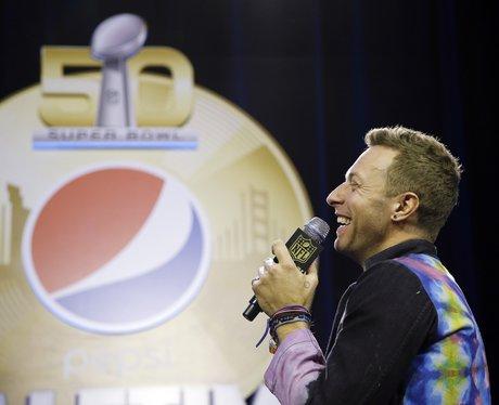 Chris Martin at the SuperBowl 2016 Press Conferenc