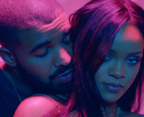 Drake hugging Rihanna