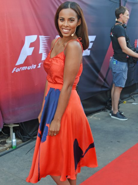 Rochelle Humes presents at F1 event in Trafalgar S